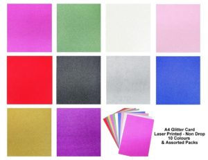 A4 Glitter Card Fixed Sparkle Card 250gsm Non Shed Card Arts Crafts (10 Colours)