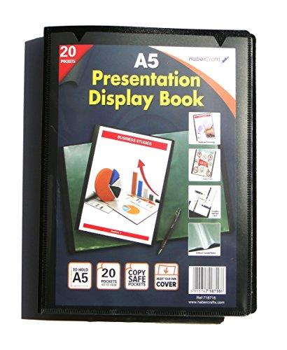 Display Books Black Project Presentation Document Folder Heavy Duty A3, A4 & A5 In 20 Or 40 Pockets
