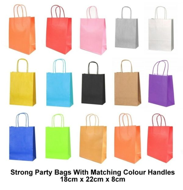 Paper Party Bags Xmas Birthday Handle Heavy Strong Gift Bags 120gsm (12 Colours)
