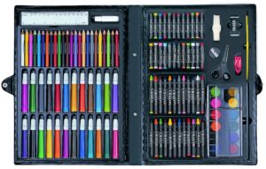 Art Set For Children Kids Colour Pencils Paint Felt Tips Crayons Pastels Watercolour Paints Drawing Sketching Colouring Painting Inspiration Giant Arts & Crafts Gift Set Junior Boys Girls Artist Mix Media Case With Brush & Palette (120 Piece Art Set)