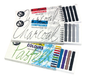 Charcoal Sticks Set Compressed Black White Grey Earth Pastel Colours Non Toxic